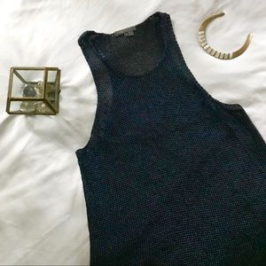 {vince} navy cable-knit silk tank